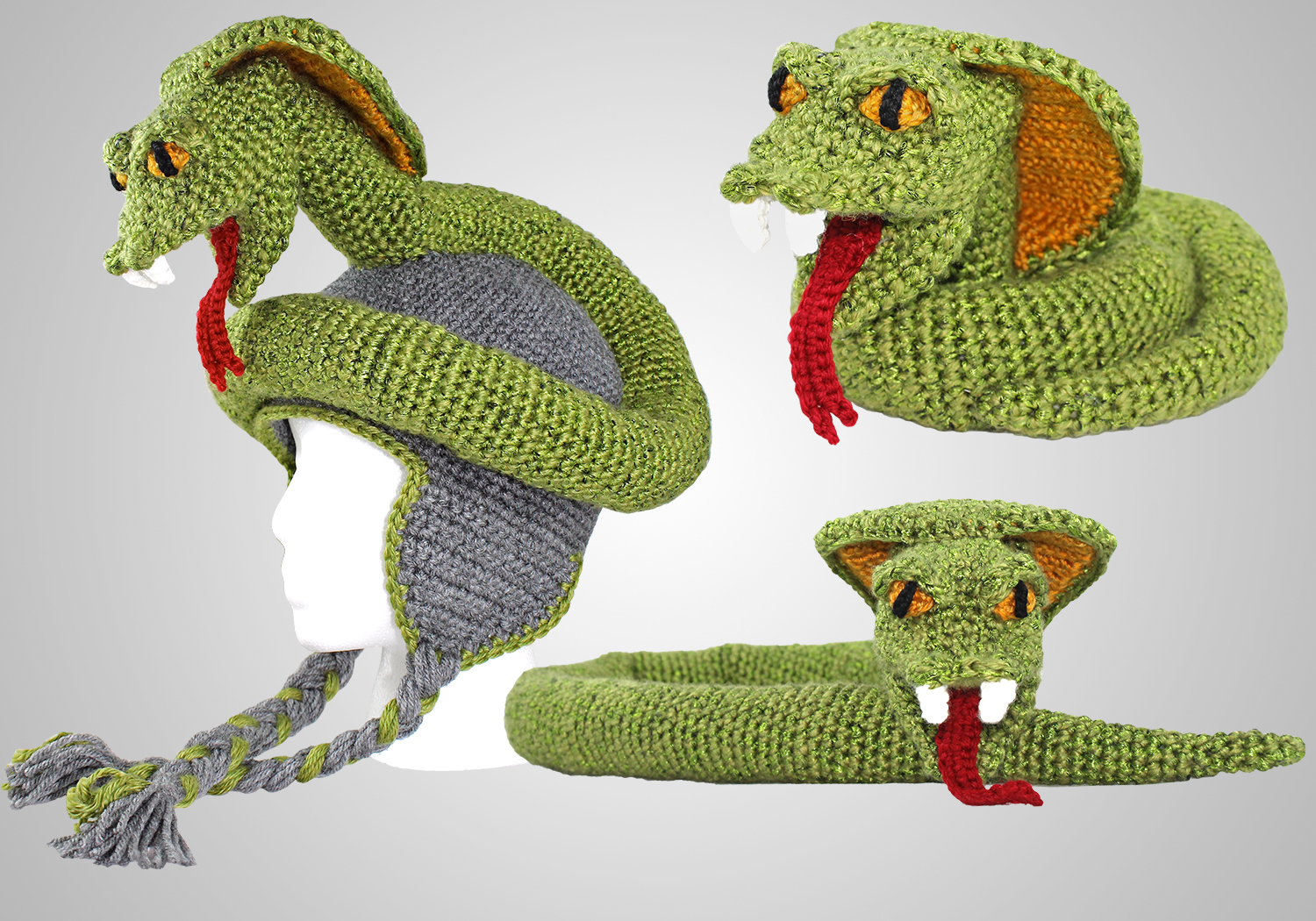 crochet cobra hat and toy