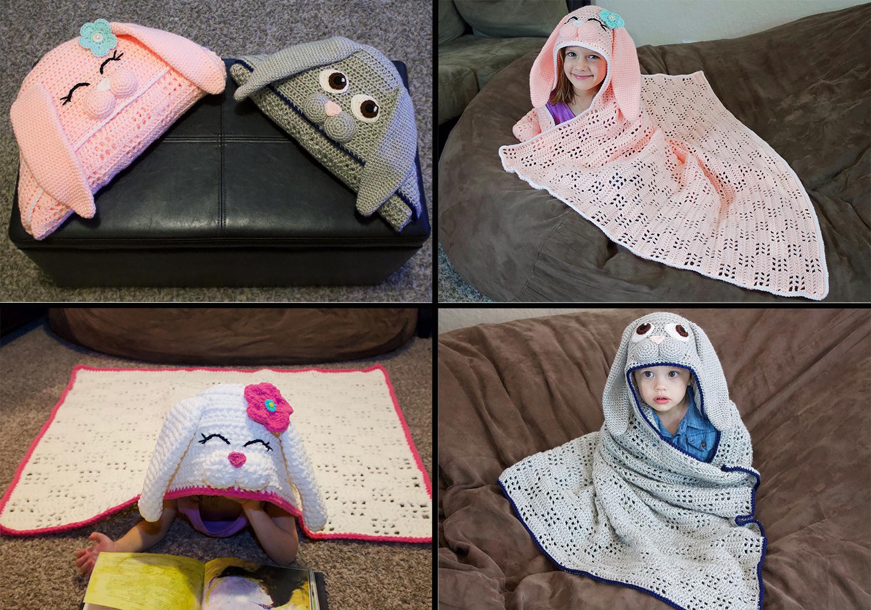 eacy crochet hooded bunny blanket pattern