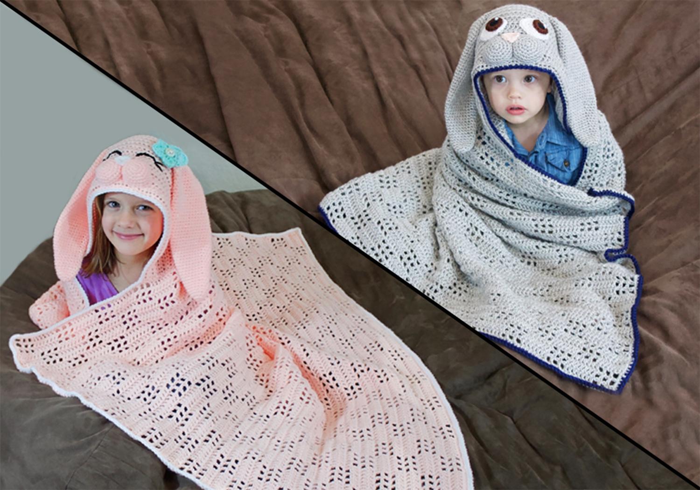 crochet hooded bunny blanket
