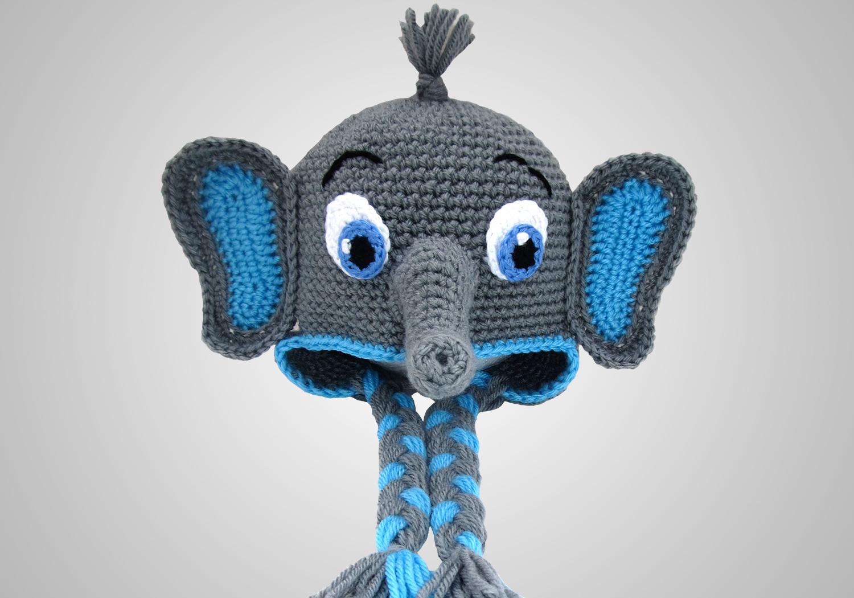 Elephant Ear Flap Hat Crochet Pattern | YouCanMakeThis.com | 1050x1500