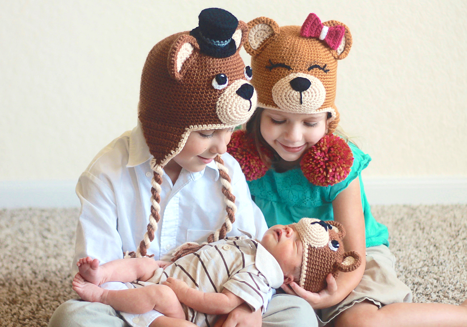 Crochet Matching Bear Hats