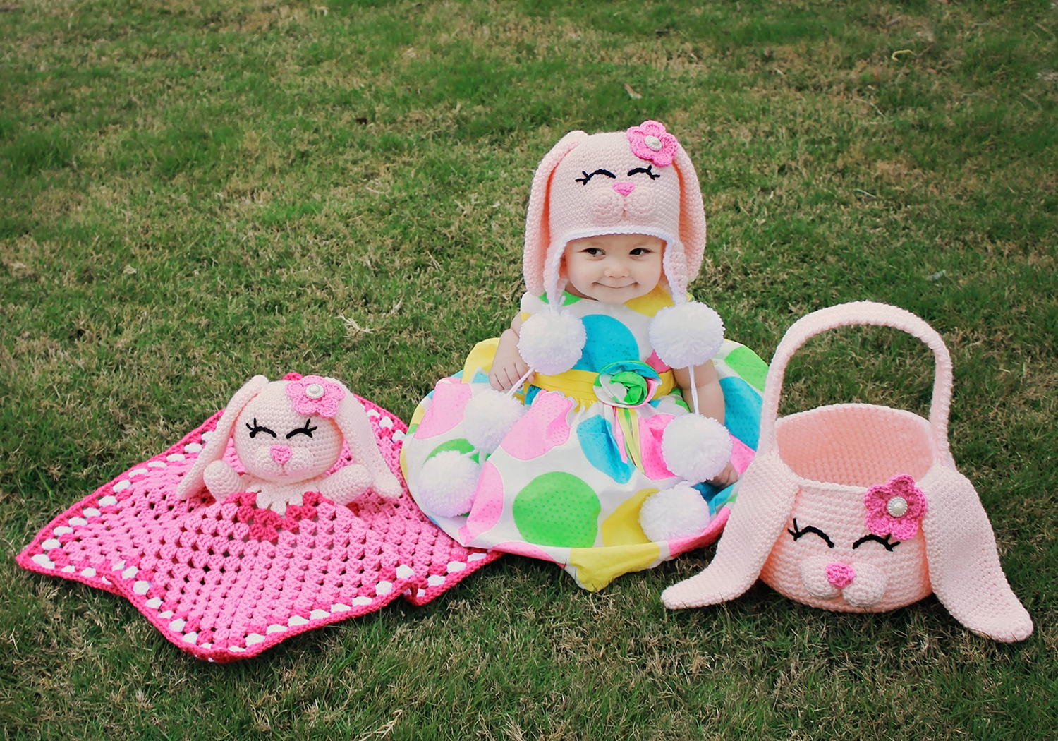 Crochet Bunny blanket set