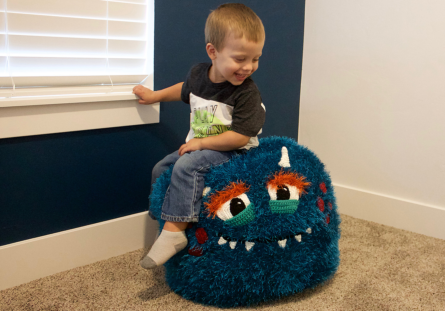 boy pouf room decor