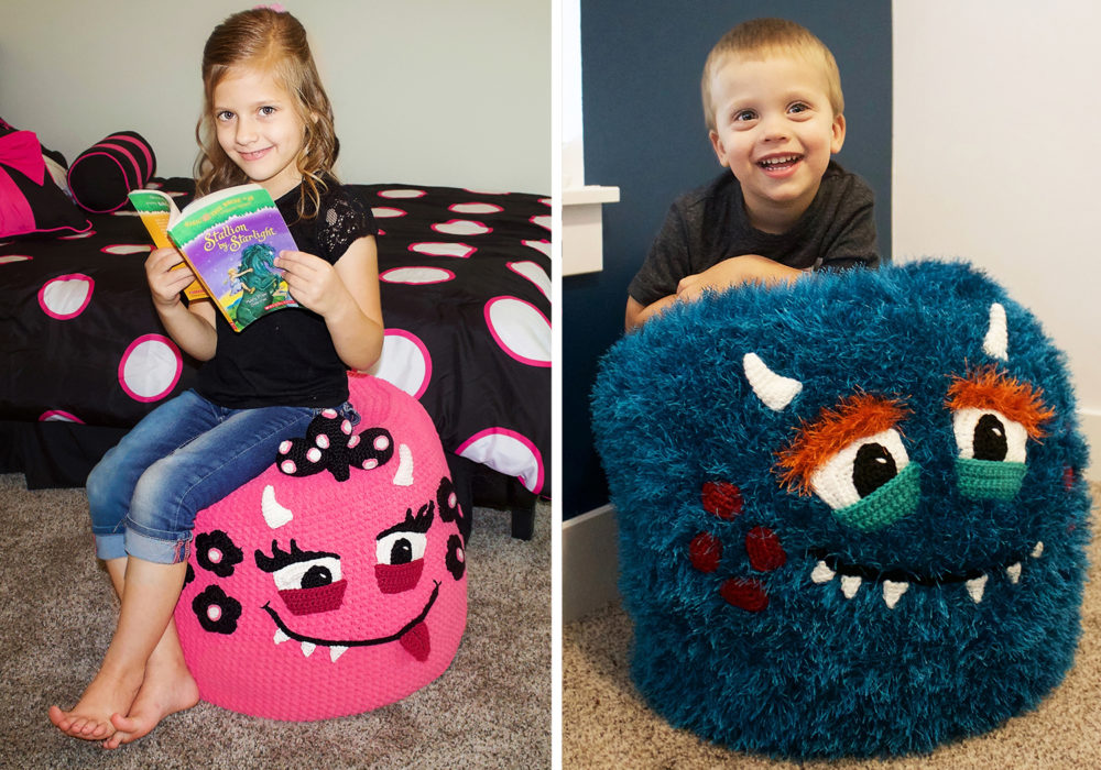 crochet monster pouf