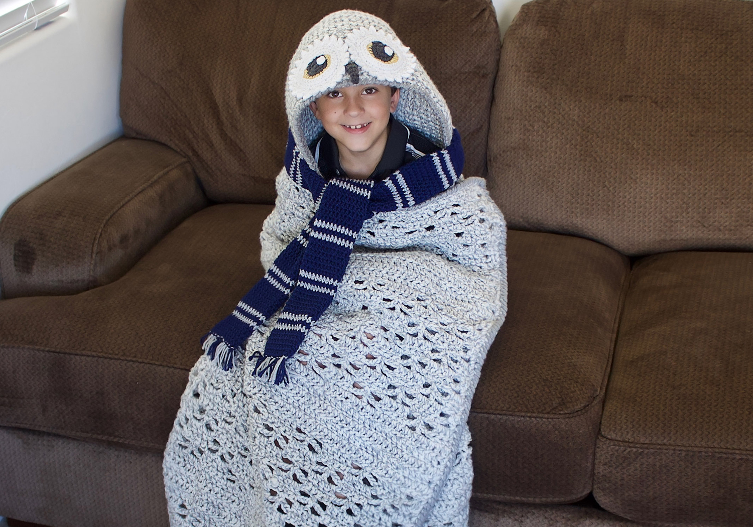 boy hooded owl blanket