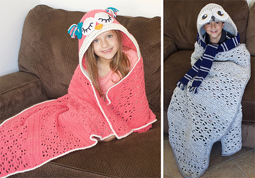 easy crochet hooded owl blanket