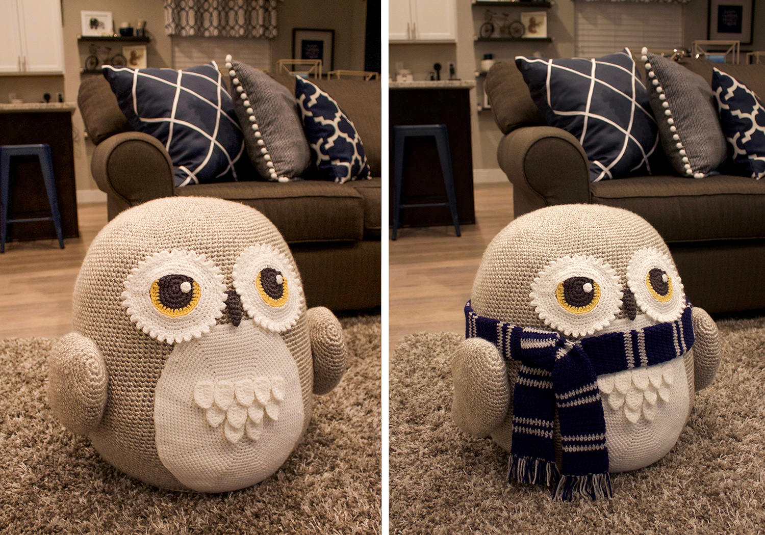 decor owl pouf pattern