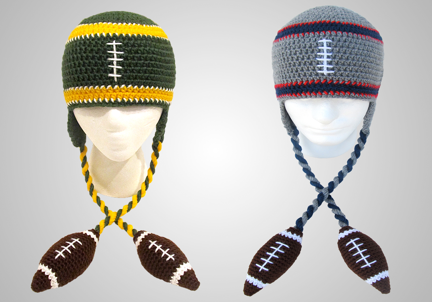 crochet football beanie
