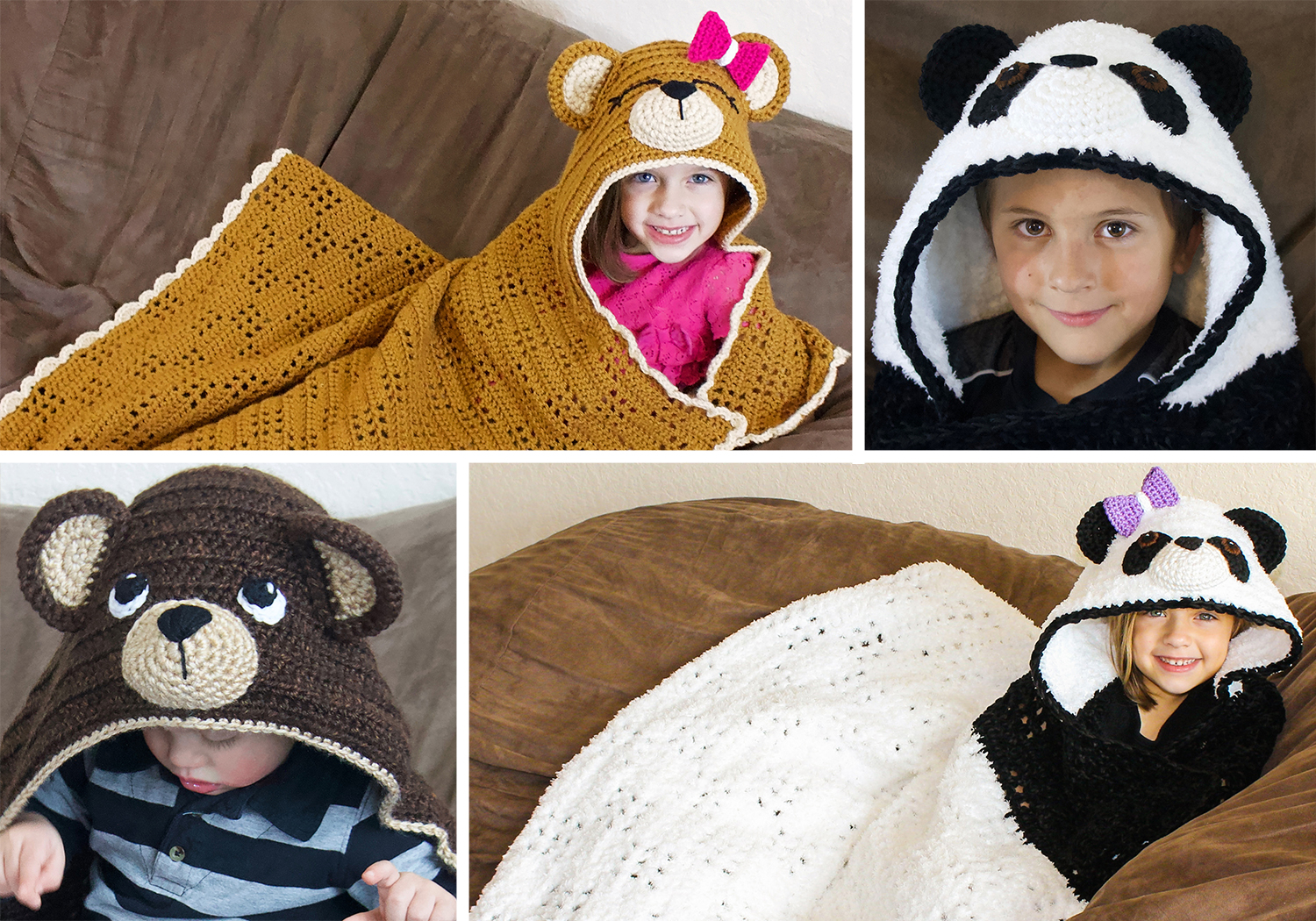 Crochet Bear Hooded Blanket