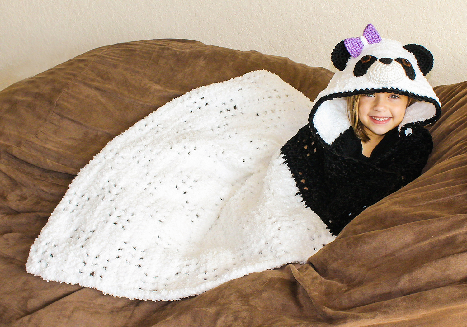crochet panda hooded blanket