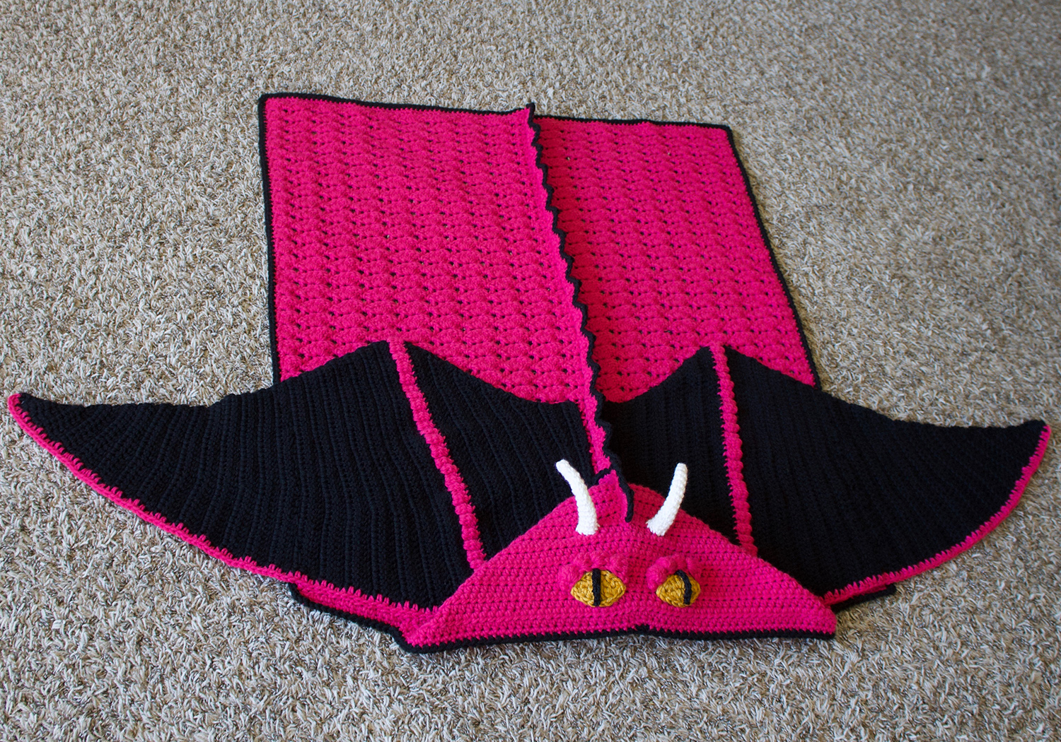 girl crochet dragon hooded blanket