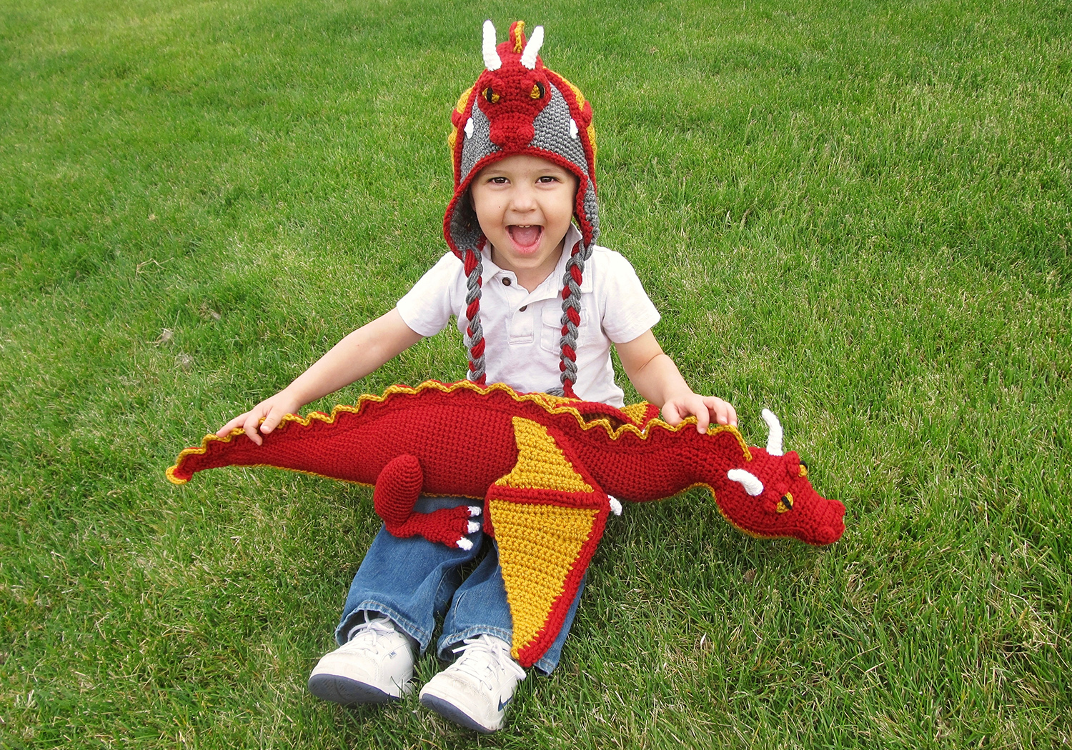 dragon toy and hat crochet pattern