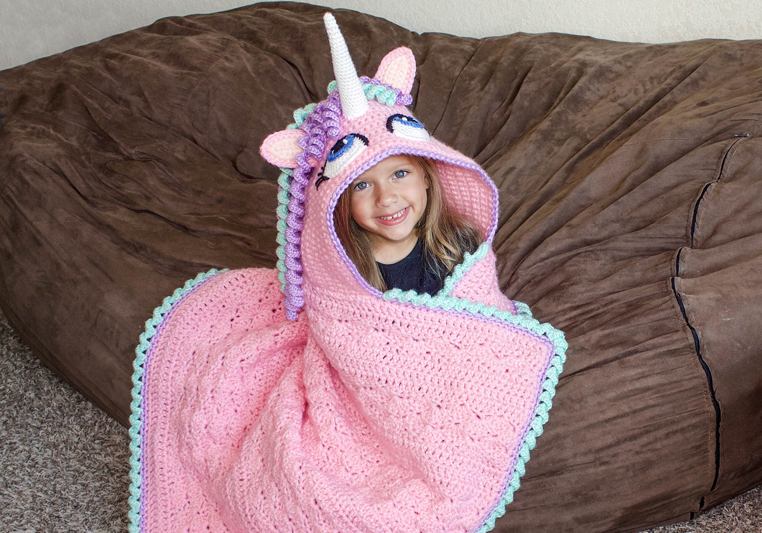 easy hooded unicorn blanket