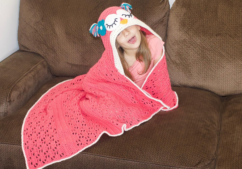 Crochet Sleepy Owl Hooded Blanket