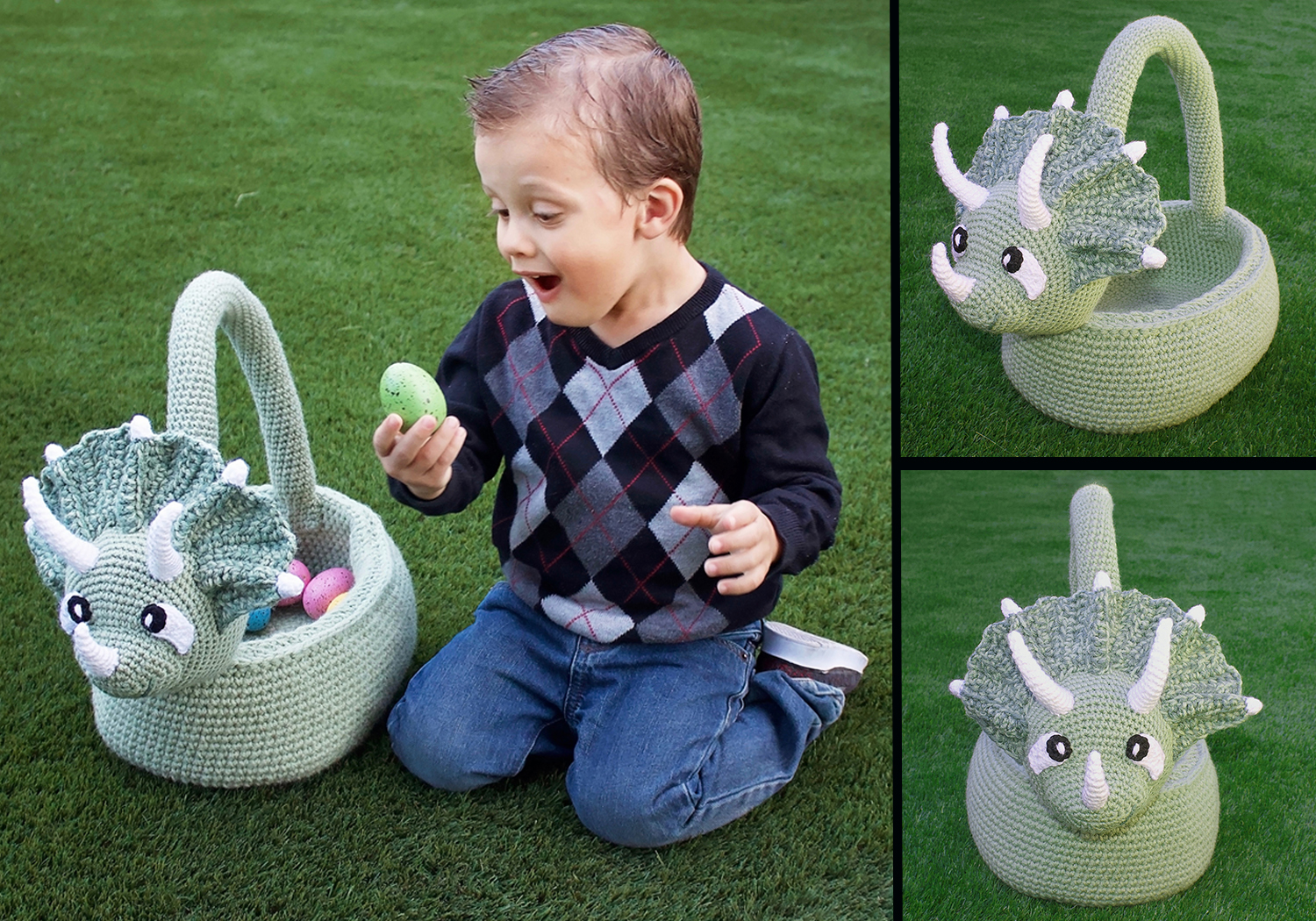Cute Triceratops Basket