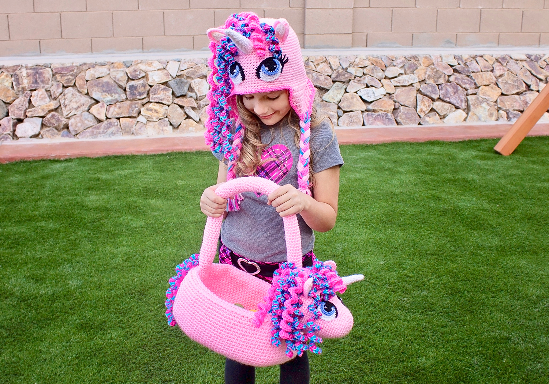 girl Easter unicorn basket
