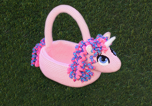 Cute Crochet Easter Unicorn Basket