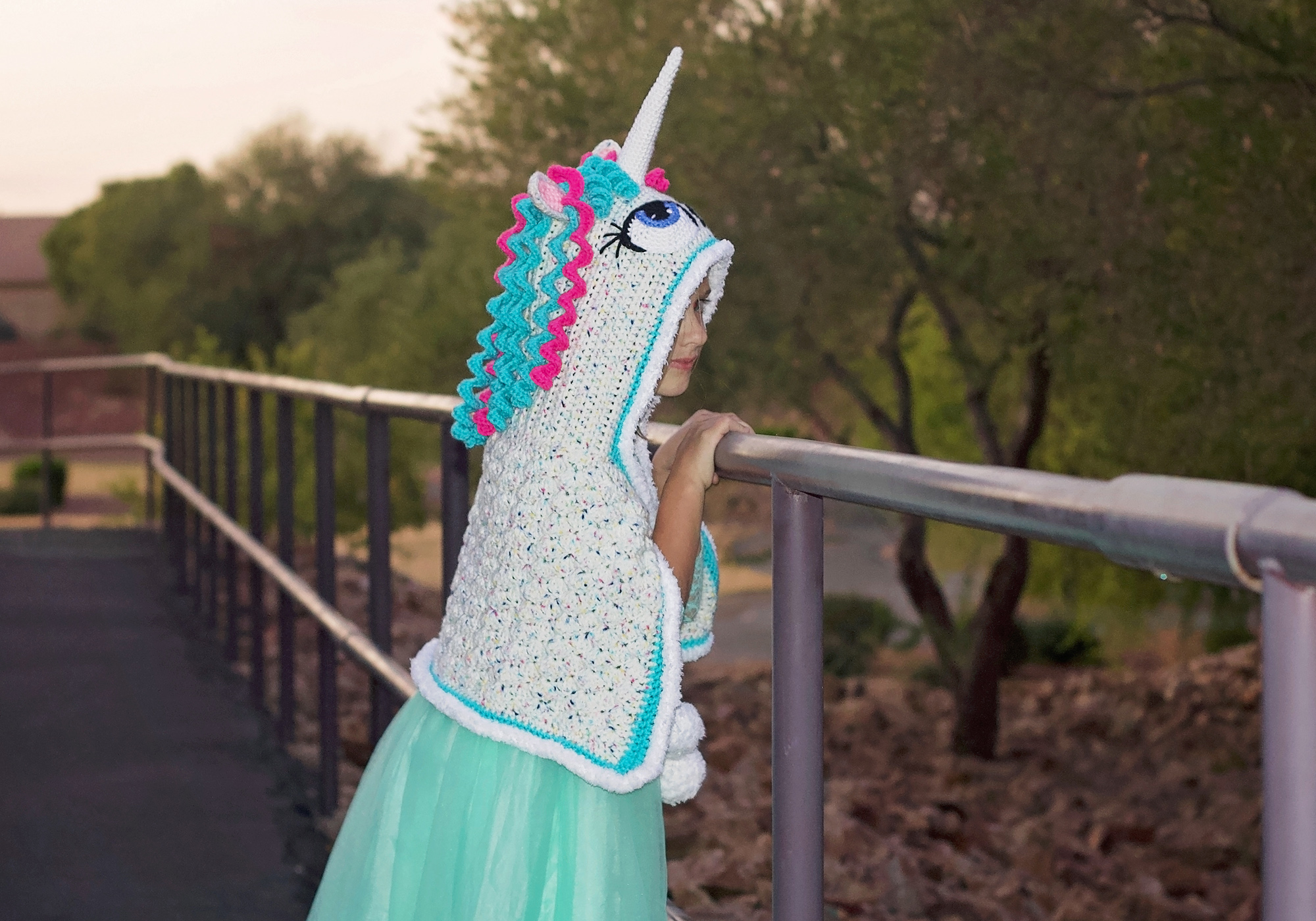 Girls Crochet Pony Cape