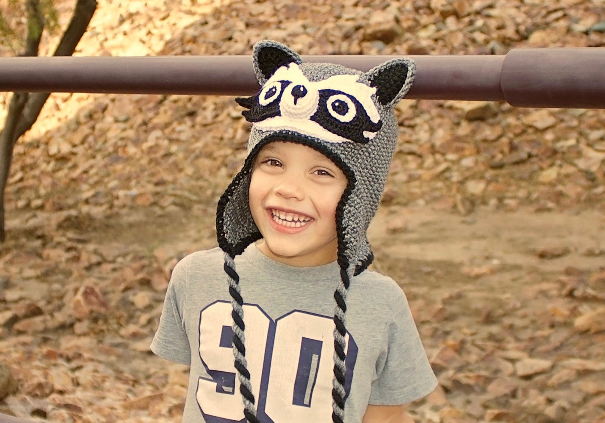 Boy Raccoon Beanie Pattern
