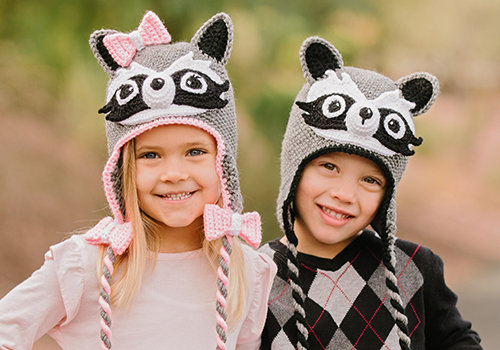 Crochet Raccoon Winter Beanie Pattern